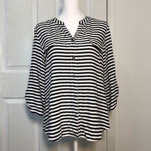 Chico's Women's Striped Blouse - Size 2 (Large)